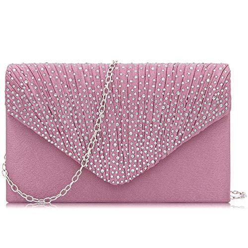 HEKATE Women Evening Bag Rhinestone Envelope Clutch Bag Party Wedding Clutch Purse (Pink)