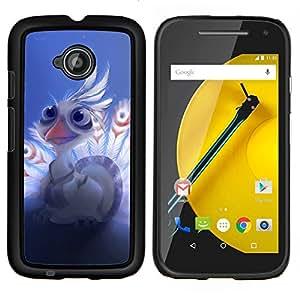 Caucho caso de Shell duro de la cubierta de accesorios de protección BY RAYDREAMMM - Motorola Moto E2 E2nd Gen - Plumas de aves White Peacock Arte de dibujos animados