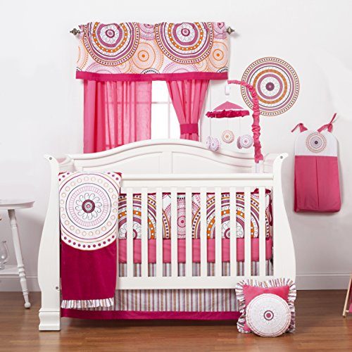 (One Grace Place Sophia Lolita Infant Crib Bedding Set, White/Pink/Berry/Black)