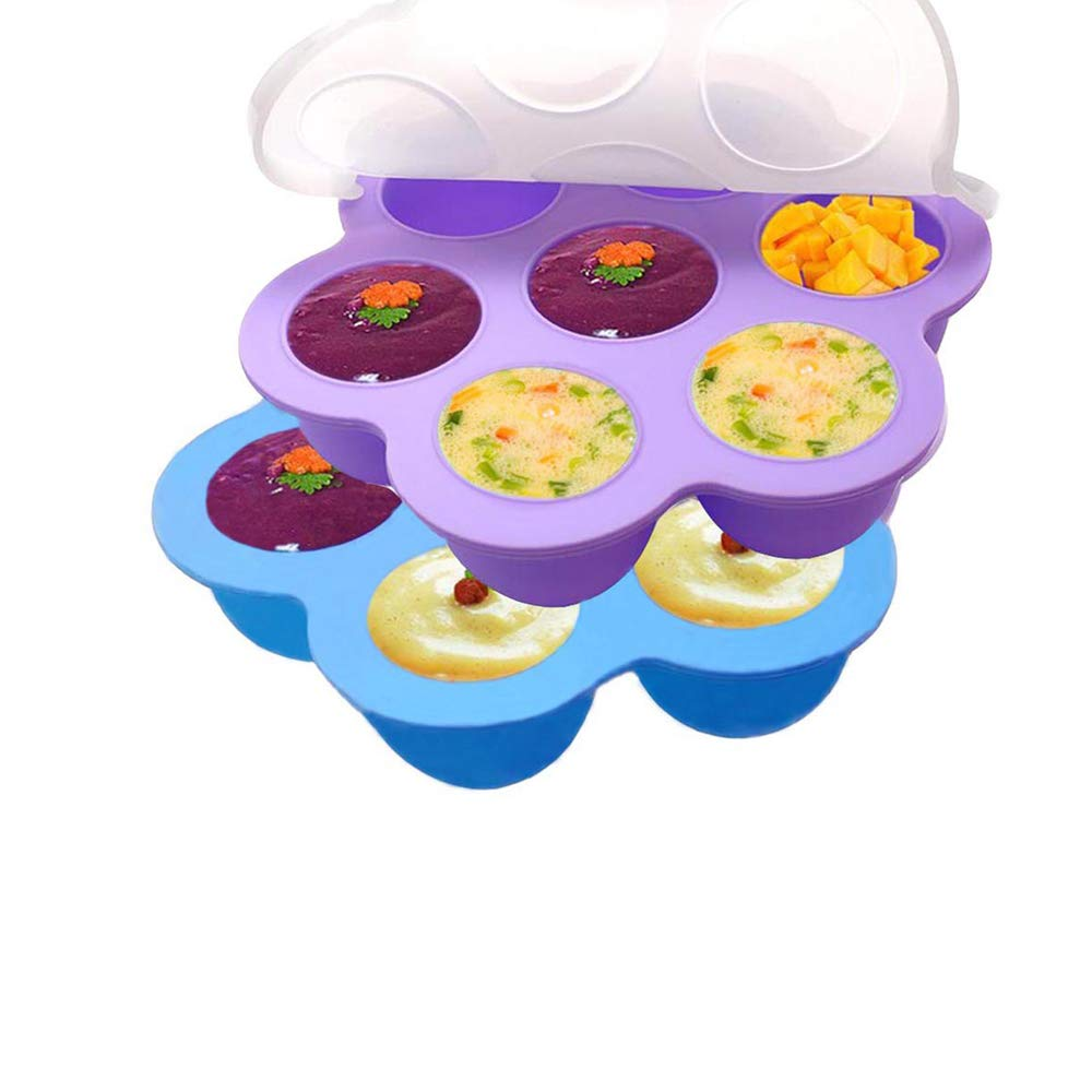 Bonfook Silicone Egg Bites Molds For Instant Pot Accessories- Fits 5,6,8qt Pressure Cooker,7Cups Reusable Baby Food Storage Container With Lid,Smaller Freezer Molds Ice Trays(2 Packs Blue+Purple)
