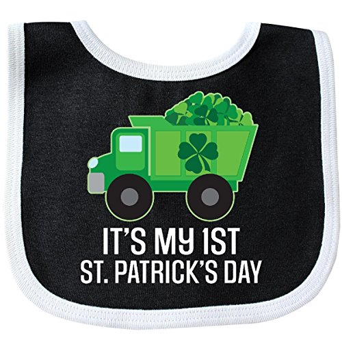 Inktastic - First St Patricks Day Irish Shamrock Truck Boys Baby Bib Black/White