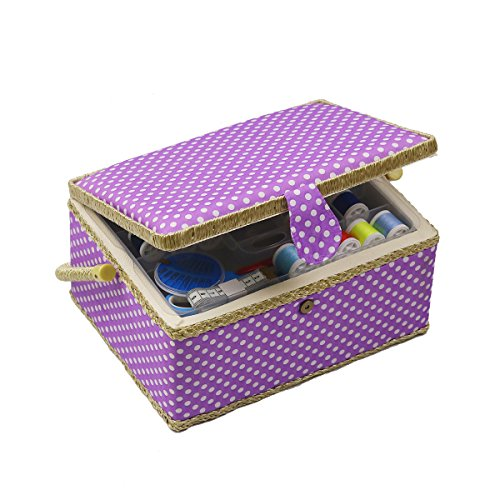 Sewing Basket, Sewing Box Organizer - Includes Sewing Kit Accessories/Insert Tray/Handle/ Built-in Pin Cushion & Interior Pocket - Purple Polka Dot - Large 12.2 x 9.2 x 6.7 inches - by D&D Design by D&D