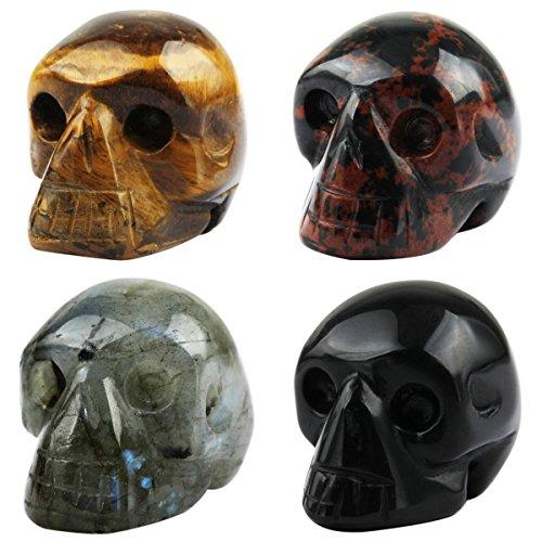 (SUNYIK Tiger's Eye Stone Labradorite Black Obsidian Mahagony Obsidian Carving Skull 1