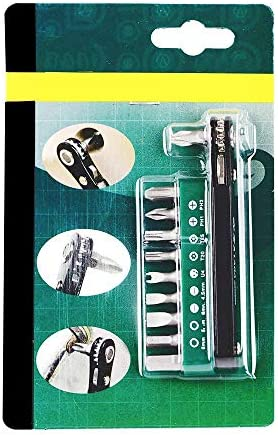MIEMIE Screwdriver Set 10 in 1 Screw Driver Kits with Thin-Walled Ratchet Handle 10 S2 Steel Bits Home Repair Tools