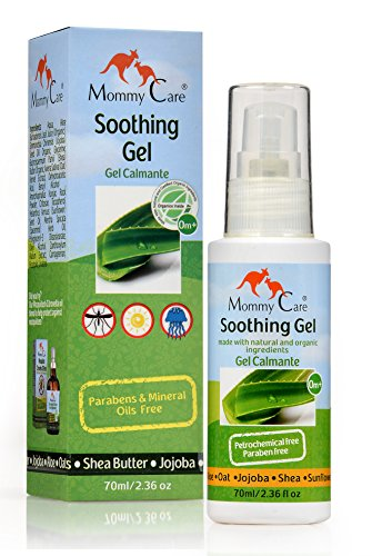 Aloe Vera Soothing Gel Mommy Care Certified Organic [Shea Butter and Jojoba] Bug Bite Itch Relief Jellyfish Sting Treatment Soothe Irritation and Swelling Natural Moisture for Kids, Babies and Adults