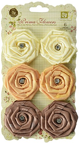 Embellishments Scrapbooking Fabric (Allure Fabric Flowers W/Gems 1.75 To 2 6/Pkg-Mocha)