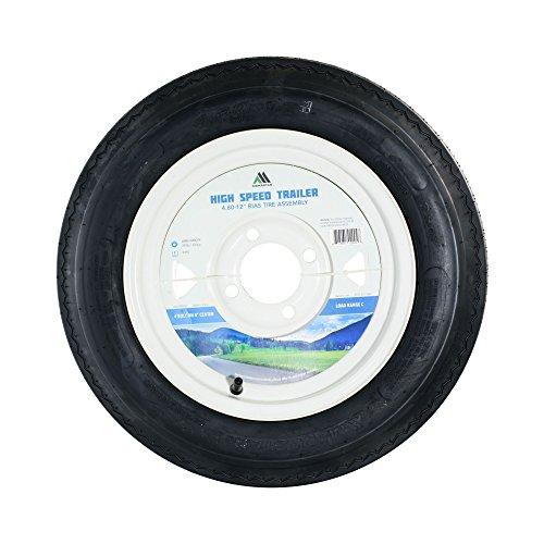 4.80-12 LRC Bias Trailer Tire Mounted on White Spoke 4 Lug Wheel