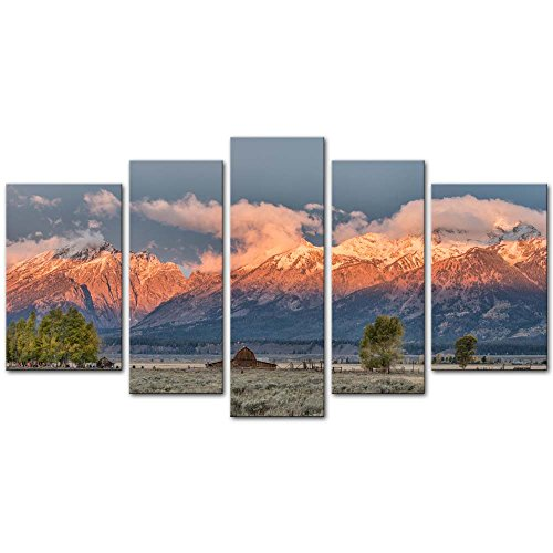 5 Pieces Modern Canvas Painting Wall Art The Picture For Home Decoration Sunrise Mormon Row Grand Teton National Park Autumn Wyoming Landscape Jokul Print On Canvas Giclee Artwork For Wall Decor