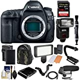 Canon EOS 5D Mark IV 4K Wi-Fi Digital SLR Camera Body with 128GB CF Card + Battery + Charger + Backpack + Flash + LED Video Light + Microphone + Kit
