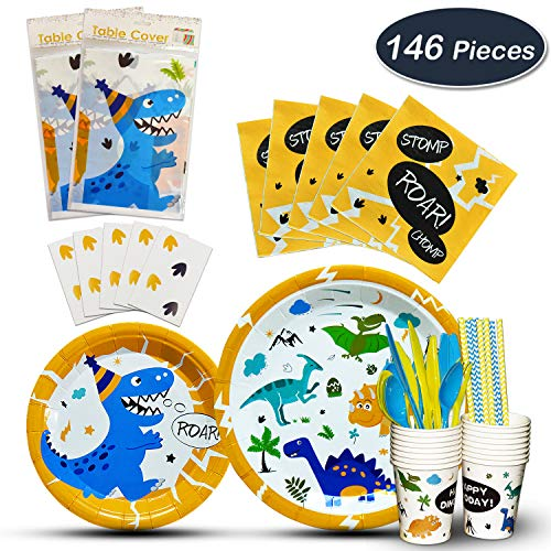 WERNNSAI Dinosaur Tableware Set - Party Supplies for Boys Kids Birthday Baby Shower Wedding Includes Cutlery Bag Table Cover Plates Cups Napkins Straws Utensils Serves 16 Guests 146 PCS -