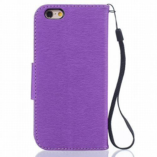 Cover iphone 6s plus (5.5) Custodia, Ougger Portafoglio Card Slot PU Pelle Magnetico Stand Silicone Flip Bumper Protettivo Cover Case Custodia per Apple iphone 6s plus (5.5) Piuma Porpora