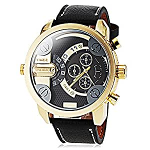 ZA Men's Military Style Dual Time Zones Leather Band Quartz Wrist Watch(Delivery color random)