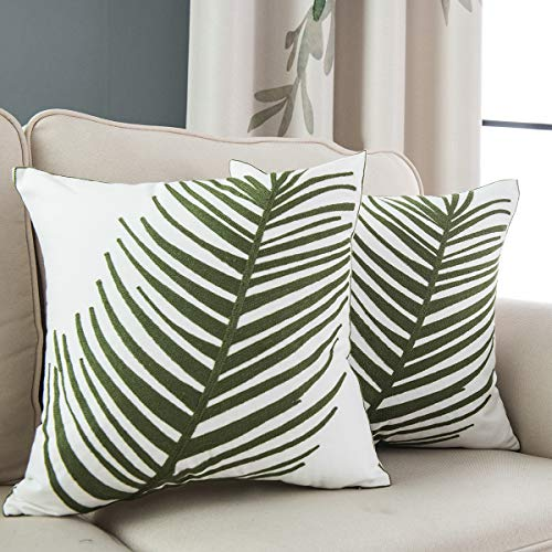 Taisier Home Throw Pillow Covers Tropical Green Leaf Plant 18×18 Inches Decorative for Bedroom Sofa Couch,2 Pieces Packed, Natural Style Accent Pillow Cases