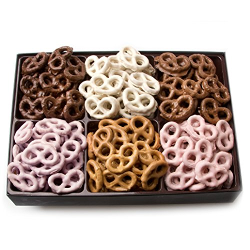 Oh! Nuts Chocolate Covered Pretzels Gift Basket, 6 Variety Assorted Flavored Set of Yogurt, Milk & Dark Gift Box, Send for Christmas Holiday Valentine's or Mother's Day a Sweet Treat for Men & Women by Oh! Nuts® (Image #2)