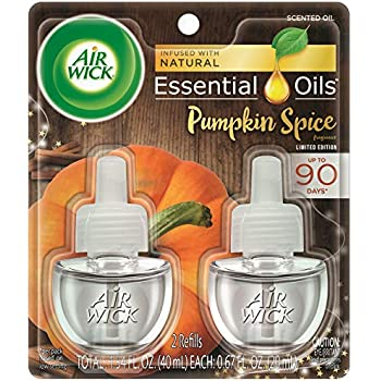 Air Wick plug in Scented Oil 2 Refills, Pumpkin Spice, Holiday scent, Holiday spray, (2x0.67oz), Essential Oils, Air Freshener, Packaging May Vary