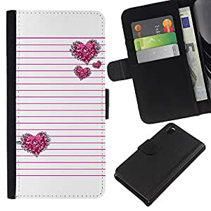 EJOY---La carpeta del tirón la caja de cuero de alta calidad de la PU Caso protector / Sony Xperia Z3 D6603 / --Líneas rosadas del amor del corazón negro