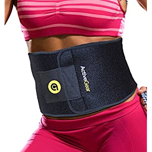 "ActiveGear Premium Waist Trimmer Belt Slim Body Sweat Wrap for Stomach and Back Lumbar Support (Yellow, Large: 9"" x 46"")"