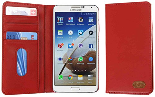 3Q Universal Phone Case 4 to 5.5 inch in top premium Faux Leather Elegant Sleeve Booklet Folio Cover with Wallet Function Red