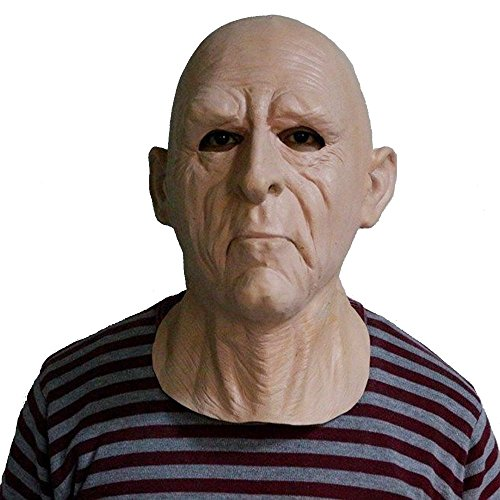 Realistic Old Man Mask for Adults Latex Male Human Face Mask Party Cosplay Halloween Costume]()