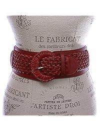 """Women's 3"""" Wide High Waist Braided Fashion Stretch Belt, Red   S/M 27''-32''"""