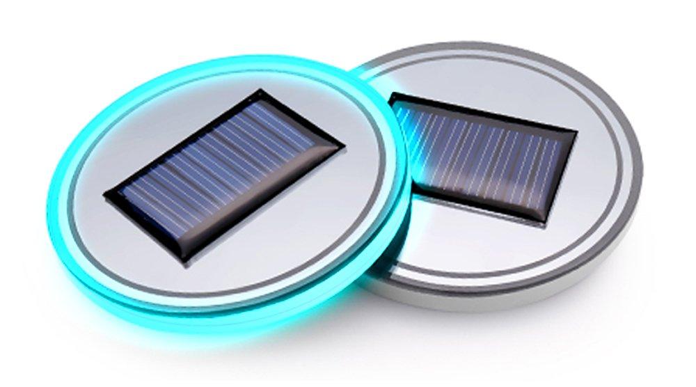 LED D/écoration int/érieure pour toutes les voitures Lot de 2 tapis ronds lumineux pour porte-gobelet de voiture USB /Énergie solaire