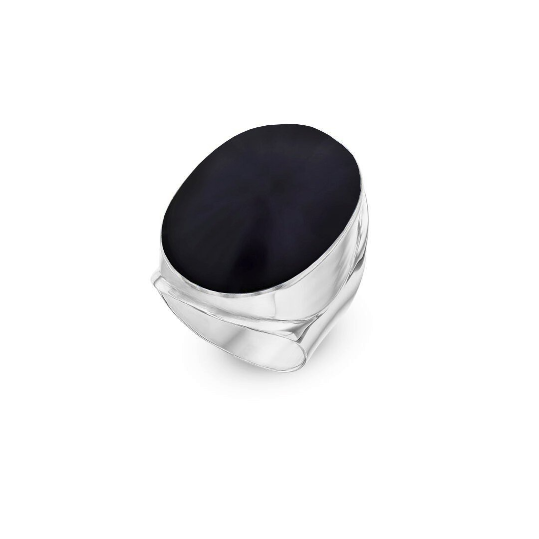 925 Sterling Silver Statement Ring Onyx Stone Giant Round Black Womens Ring 11