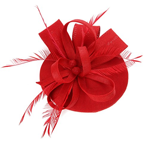 - Sinamay Feather Fascinators Womens Pillbox Flower Derby Hat for Cocktail Ball Wedding Church Tea Party Red