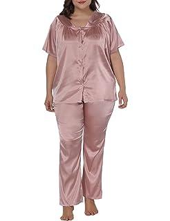 6c1a2e6a56 Allegrace Women Plus Size Short Sleeve 2 Piece Pajama Sets Button Down  Sleepwears