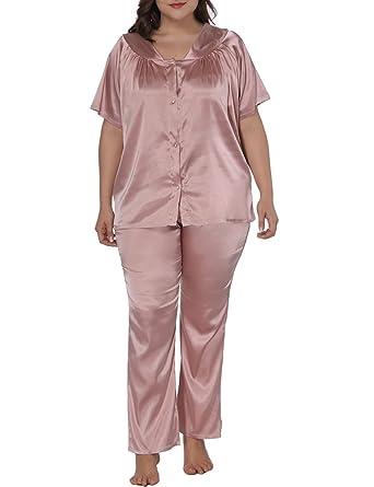 974b216a964 Allegrace Women Plus Size Short Sleeve 2 Piece Pajama Sets Button Down  Sleepwears Pink 1X
