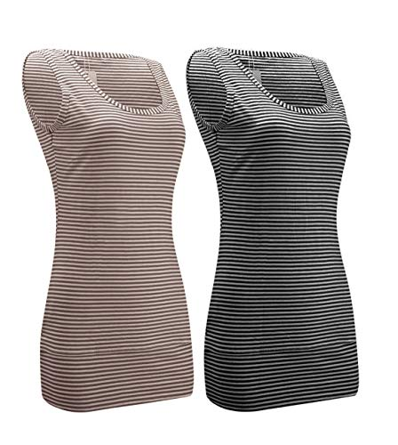 - Striped Tank Tops for Women Scoop Neck Long Stretch Camisole Layering Top (2 Pack/Black+Coffee, M)