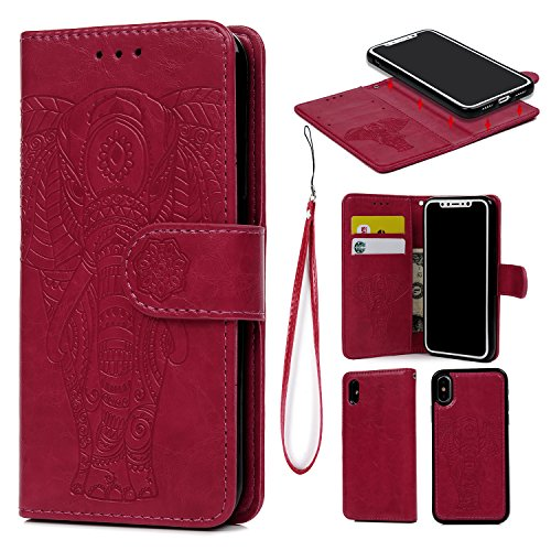 iPhone X Case, iPhone Xs Wallet Case Premium PU Leather Oil Wax Embossed Elephant Detachable Magnetic Cover Credit Card Cash Slots Cover for iPhone X/XS (Hot Pink)