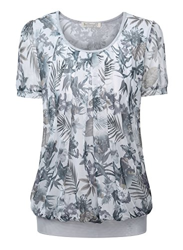 Button Cuff Floral Blouse - BaiShengGT Women's Short Sleeve Pleated Front Mesh Blouse Large White Floral