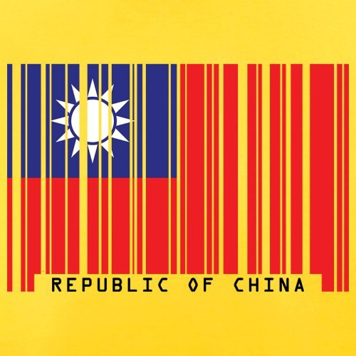 Republic of China / Republik China (Taiwan) Barcode Flagge - Herren T-Shirt - Gelb - L