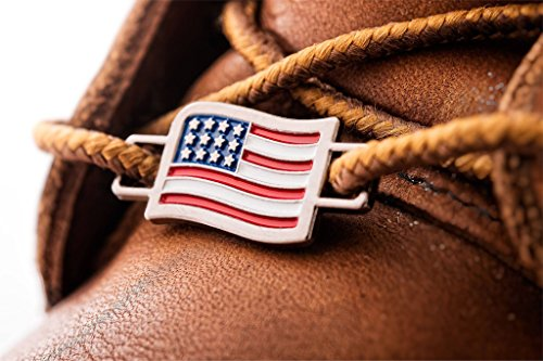 BrooklynMaker USA Flags Shoes Boot Lace Keeper US American Union - Us Flag Charm