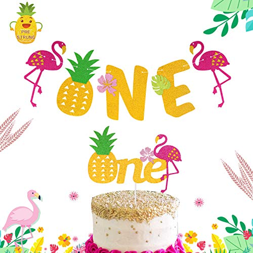 Flamingo Pineapple 1st Birthday Decorations-One Cake Topper First Bday Banner for Tropical Hawaiian Luau Themed Party Supplies -