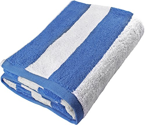 Beach Towel Large Cabana Striped Blue Cotton 35x70