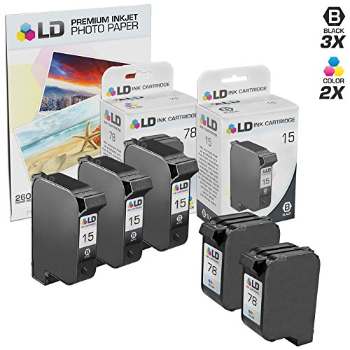 15 17 Ink Cartridge - LD © Remanufactured Ink Cartridge Replacements for HP C6615DN (HP 15) Black and HP C6578DN (HP 78) Color (3 Black and 2 Color) + Free 20 Pack of Brand 4x6 Photo Paper