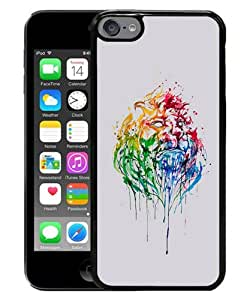 iPod Touch 6 Case ,Abstract Illustration Lion King Black iPod Touch 6 Screen Cover High Quality Fashionable And Unique Custom Designed Phone Case
