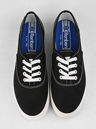 Sfnld Womens Fashion Lågt Skuren Plattform Snörning Sneakers Tygskor Svart
