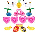 Inflatable Drink Holders,16 Pack Flamingo Palm Donut Fruit Inflatable Party Cup Holders,Party Supplies For Pool Party Beach and Kids Bath Toys (16 Multi-D)