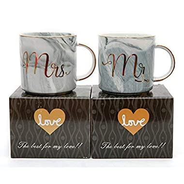 Luspan Valentine's Day Gifts - Mr and Mrs Couples Coffee Mugs set - Gift for Bridal Shower Engagement Wedding and Married Couples - Ceramic Marble Cups 13 oz