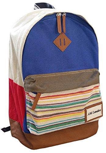 AM Landen Unisex Canvas Backpack Travel Bay Multifunction Backpack(Blue)