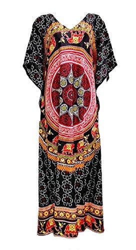 Fleur Coolred-femmes Robe Imprimé Ethnique Manches Dolman Col V Noir