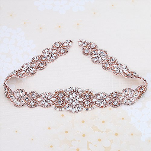 XINFANGXIU Rose Gold Wedding Bridal Sash Crystal Belt Rhinestone Applique Pearls Beaded Sewn Iron on for Formal Gown Dress (Rose Gold) (Beaded Silk Belt)