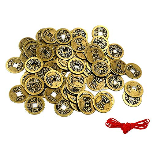 A Little Lemon 60 Pack Double Dragon Chinese Good Luck Coins,Shui I-Ching Coins,Mixed 6 Differern Chinese Dynasty Time Coin,A Big Value -