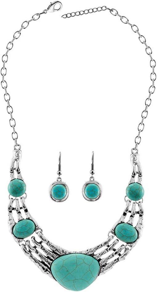Mkxiaowei Lady Necklace Earrings Set Turquoise Pendant Earrings Set Christmas