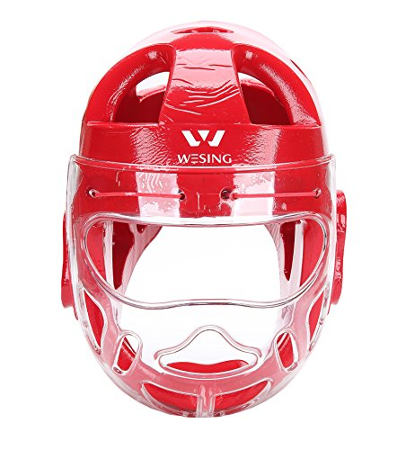 Karate MMA Full Headguard Face Shield By Wesing (Red, M)
