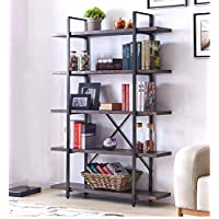 "Homissue 5-Shelf Industrial Bookshelf and Bookcase, Rustic Wood and Metal Bookcases Furniture, 70.0"" H x 47.3"" W x 12.7"" D,Espresso-Brown"