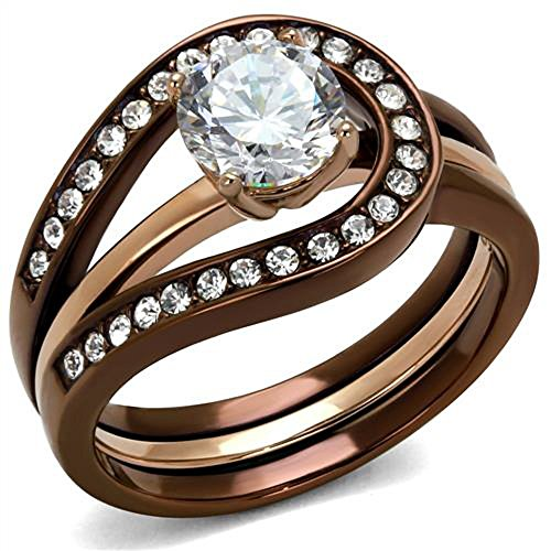 Chocolate Stainless Steel Ring - Womens 1Ct Cubic Zirconia Rose & Brown Stainless Steel 2 Piece Wedding Ring Set Size 10