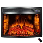 25 in. Freestanding Electric Fireplace Insert Heater in Black with Curved Tempered Glass and Remote Control by AKDY .